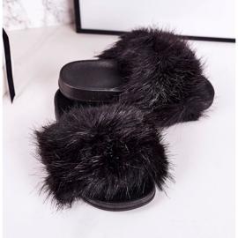 Children's Black Fashionista Fur Slippers 1