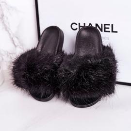 Children's Black Fashionista Fur Slippers 3