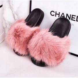 Children's Pink Fashionista Fur Slippers 3