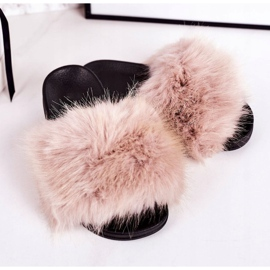 Children's Beige Fashionista Fur Slippers 1