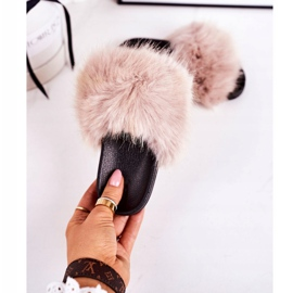 Children's Beige Fashionista Fur Slippers 3