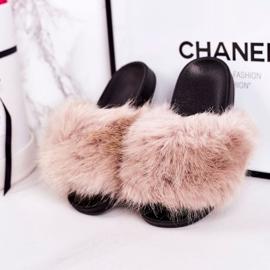 Children's Beige Fashionista Fur Slippers 4