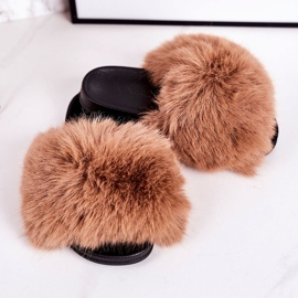 Children's Slippers With Fur Light Brown Fashionista 1