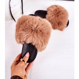 Children's Slippers With Fur Light Brown Fashionista 4