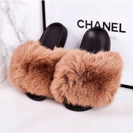 Children's Slippers With Fur Light Brown Fashionista 3