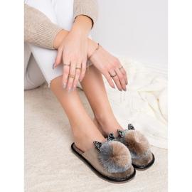 Bona Stylish Slippers With Pompom beige 3