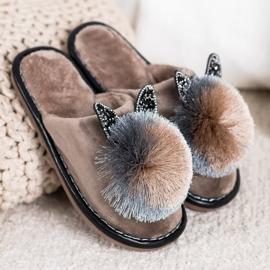Bona Stylish Slippers With Pompom beige 1