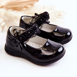 Apawwa Children's ballerinas with Velcro With Lace Black Evelyn 3
