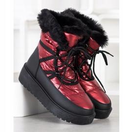 SHELOVET Snow Boots On The Platform black red 2