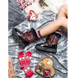SHELOVET Shiny Fashion snow boots black red 4
