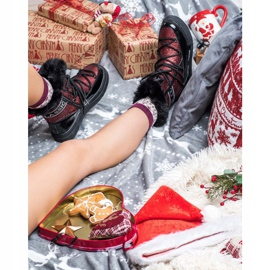 SHELOVET Shiny Fashion snow boots black red 5