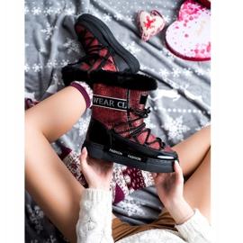 SHELOVET Shiny Fashion snow boots black red 1