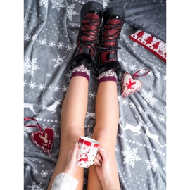 SHELOVET Shiny Fashion snow boots black red 3