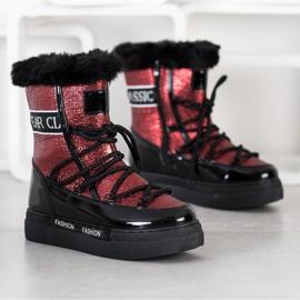 SHELOVET Shiny Fashion snow boots black red 2