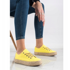 Kylie Sneakers On A Straw Platform yellow 4