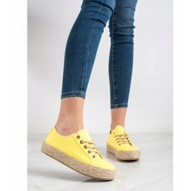 Kylie Sneakers On A Straw Platform yellow 1