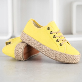 Kylie Sneakers On A Straw Platform yellow 2