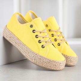 Kylie Sneakers On A Straw Platform yellow 3