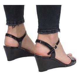 Black patent sandals on a delicate Queen wedge heel 3