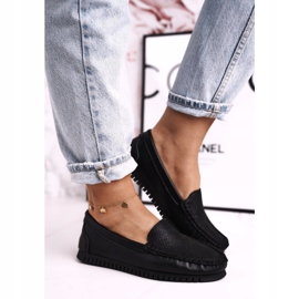 Women's Classic Leather Loafers S.Barski LR97630 Black 3