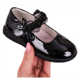 Apawwa Children's ballerinas with Velcro With Lace Black Evelyn 4
