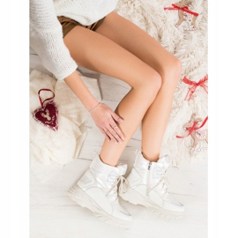 SHELOVET Warm sports snow boots white silver 1
