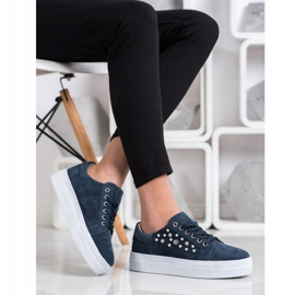 Filippo Leather Sneakers On The Platform navy blue blue 3