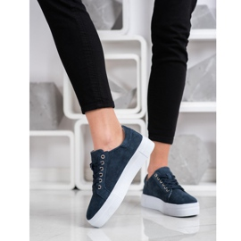 Filippo Leather Sneakers On The Platform navy blue blue 4