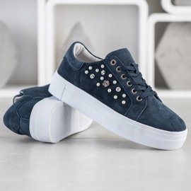 Filippo Leather Sneakers On The Platform navy blue blue 1