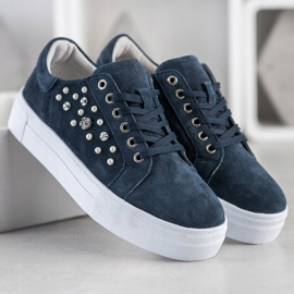 Filippo Leather Sneakers On The Platform navy blue blue 2