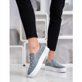 Filippo Leather Slipons With Pearls grey 1