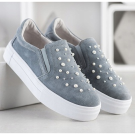 Filippo Leather Slipons With Pearls grey 3