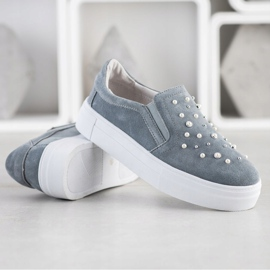 Filippo Leather Slipons With Pearls grey 4