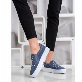 Filippo Leather Slipons With Pearls blue 4