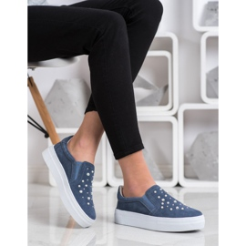 Filippo Leather Slipons With Pearls blue 1