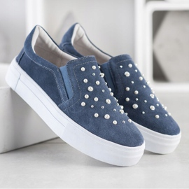 Filippo Leather Slipons With Pearls blue 2