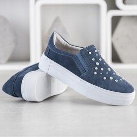 Filippo Leather Slipons With Pearls blue 3