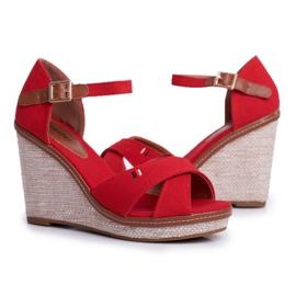 SEA LaMane Women's Red Wedge Sandals beige 2