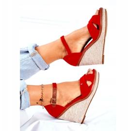 SEA LaMane Women's Red Wedge Sandals beige 1