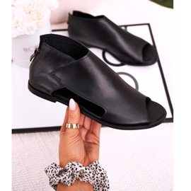 Nicole Women's Flat Leather Sandals Black Natalie 3