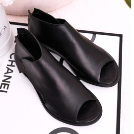 Nicole Women's Flat Leather Sandals Black Natalie 2