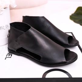 Nicole Women's Flat Leather Sandals Black Natalie 1