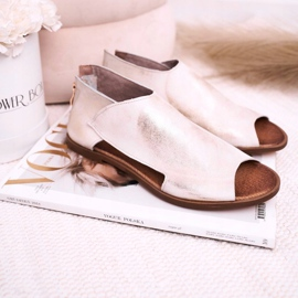 Nicole Women's Flat Leather Sandals White Natalie golden 2