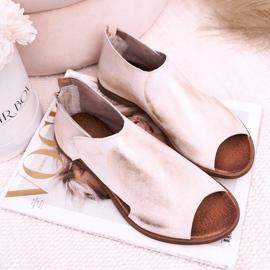 Nicole Women's Flat Leather Sandals White Natalie golden 1