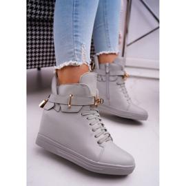Women's Sneakers On Wedge Gold Padlock Gray Tersey grey 1