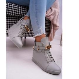 Women's Sneakers On Wedge Gold Padlock Gray Tersey grey 2