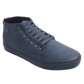 Stylish High-top Sneakers Y007 Navy Blue 1