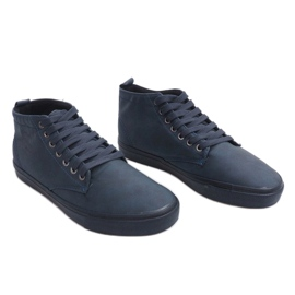 Stylish High-top Sneakers Y007 Navy Blue 2