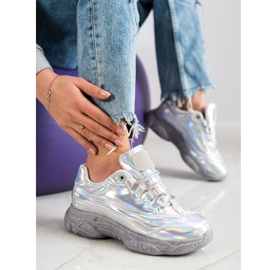 Ideal Shoes Sneakers with holo effect silver 5