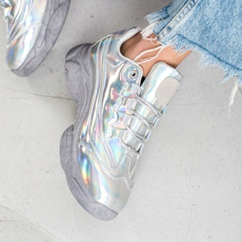 Ideal Shoes Sneakers with holo effect silver 2